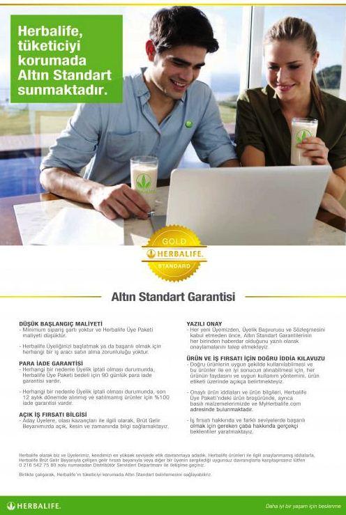 Herbalife Tüketicilerini Altın Standart Garantisi ile korur.