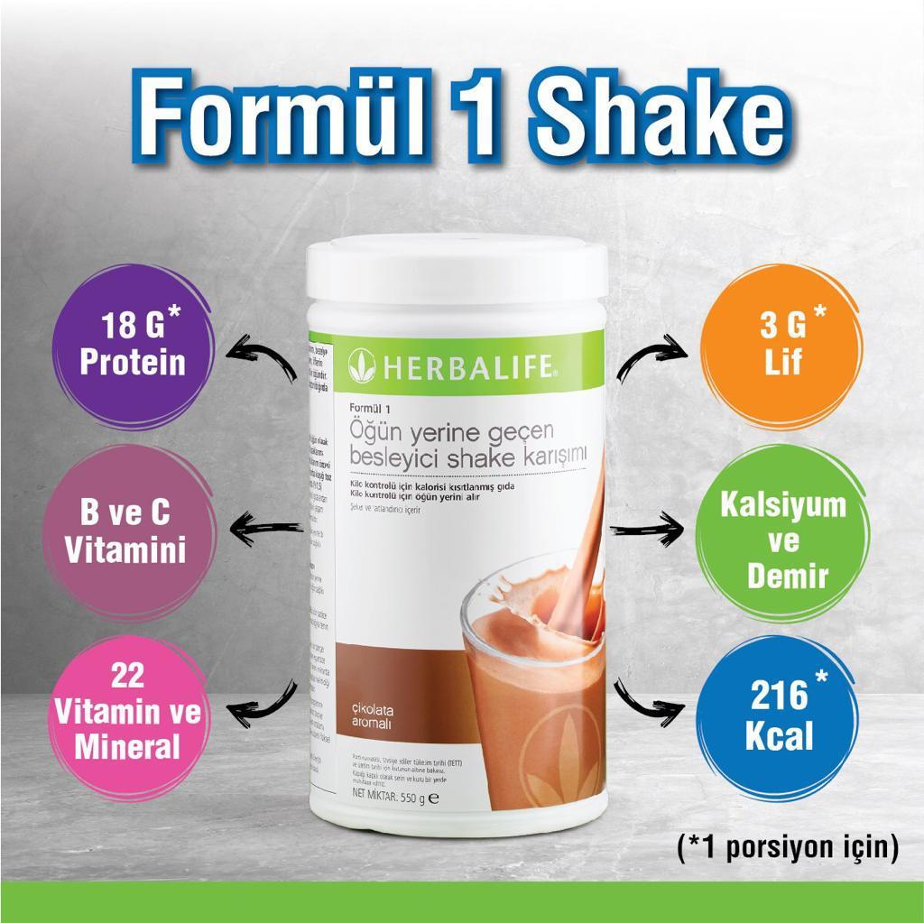 Herbalife Nutrition Formül 1 Öğün Yerine Geçen Besleyici Shake Karışımı. Vanilya Aromalı, Çikolata Aromalı, Fındık Aromalı.
