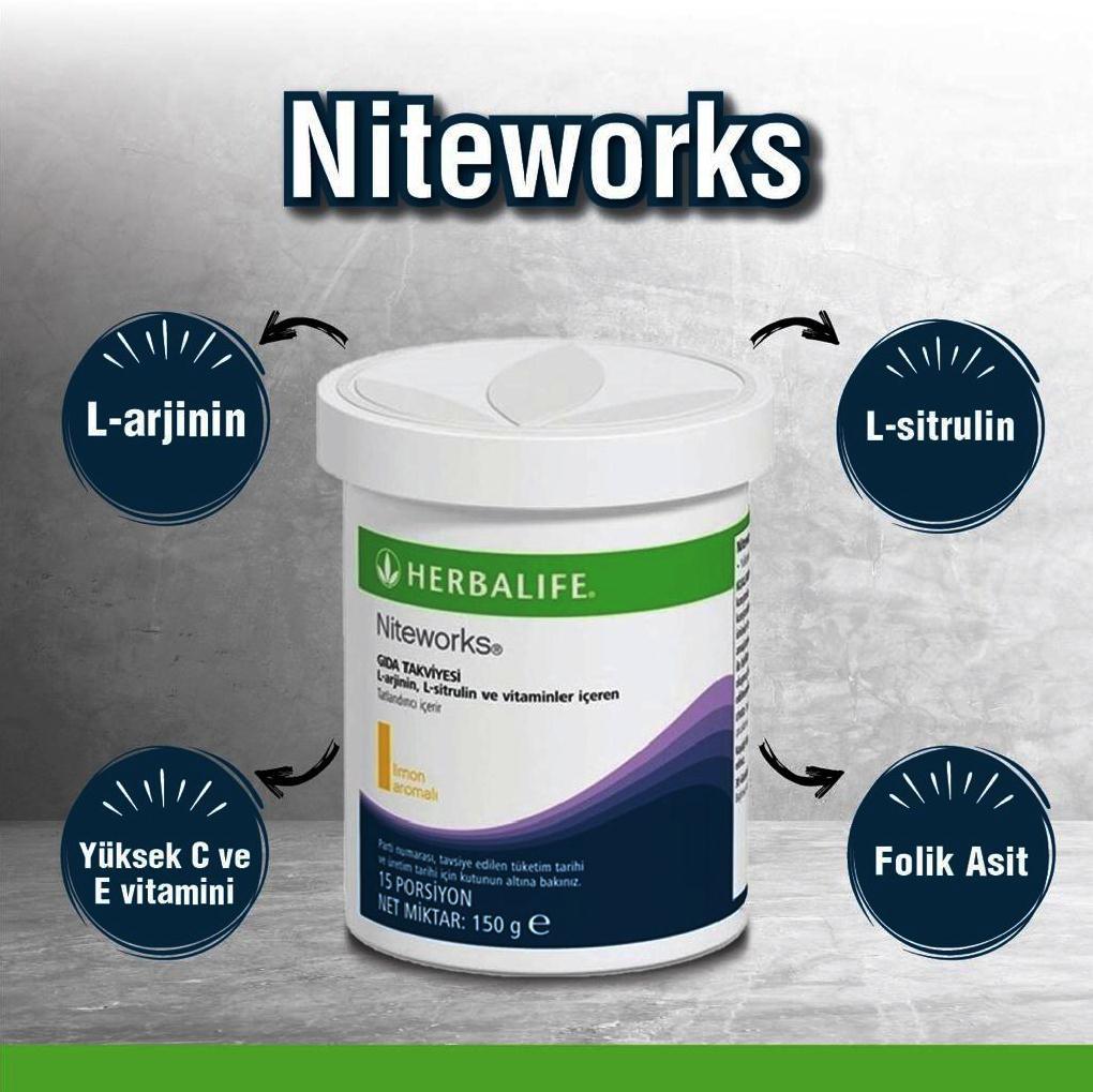 Herbalife Nutrition Niteworks L-arjinin L-sitrülin ve vitaminler içeren içecek tozu