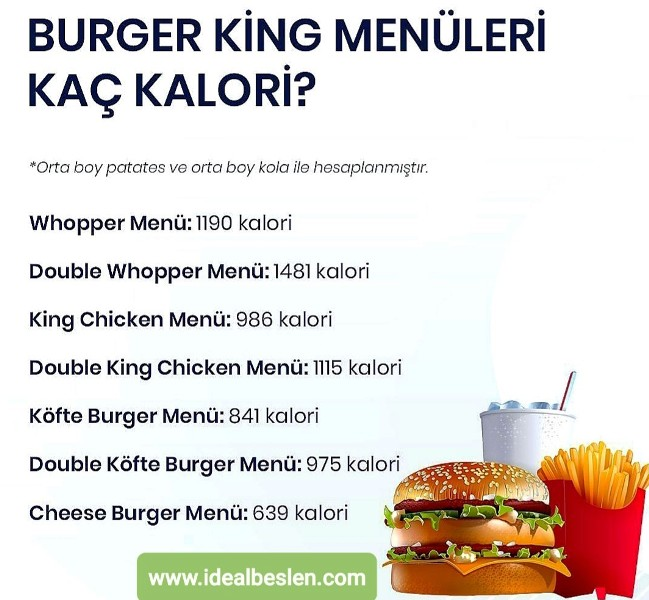 Burger King menülerinin kaç kalori olduğunu biliyor musunuz?