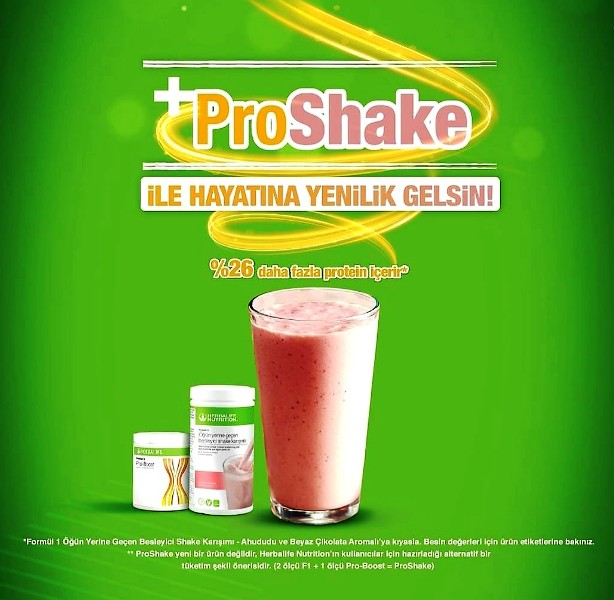 Proshake ne demek? %26 daha fazla protein içeren öğün yerine geçen shake demek.