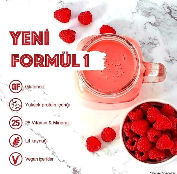 Herbalife Nutrition Formül 1 Ahududu ve Beyaz Çikolata Aromalı Öğün Yerine Geçen Besleyici Shake Karışım.