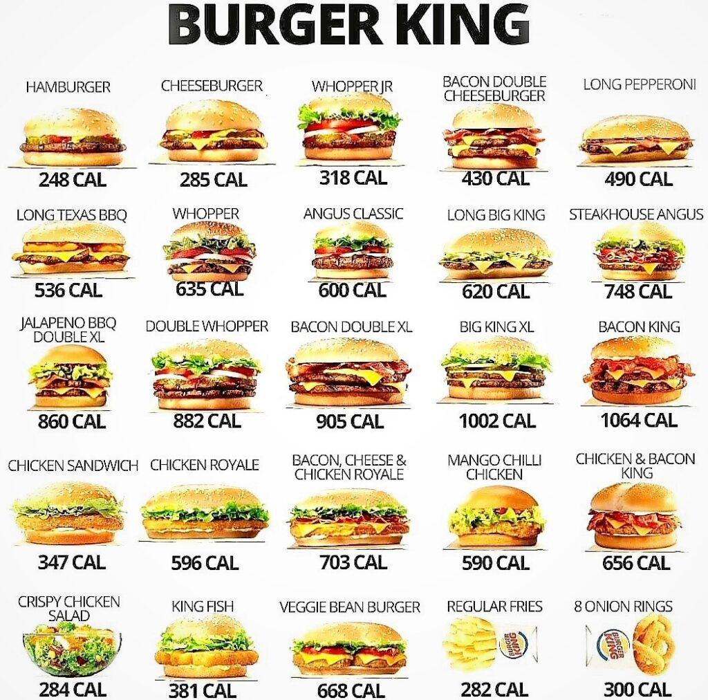 Burger King menüleri kaç kalori?